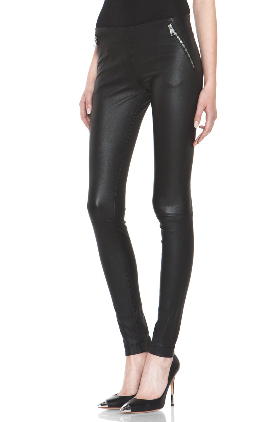 Image 2 of R13 Zip Pull On Leather Legging in Black