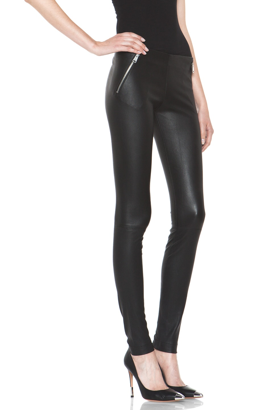 Image 3 of R13 Zip Pull On Leather Legging in Black