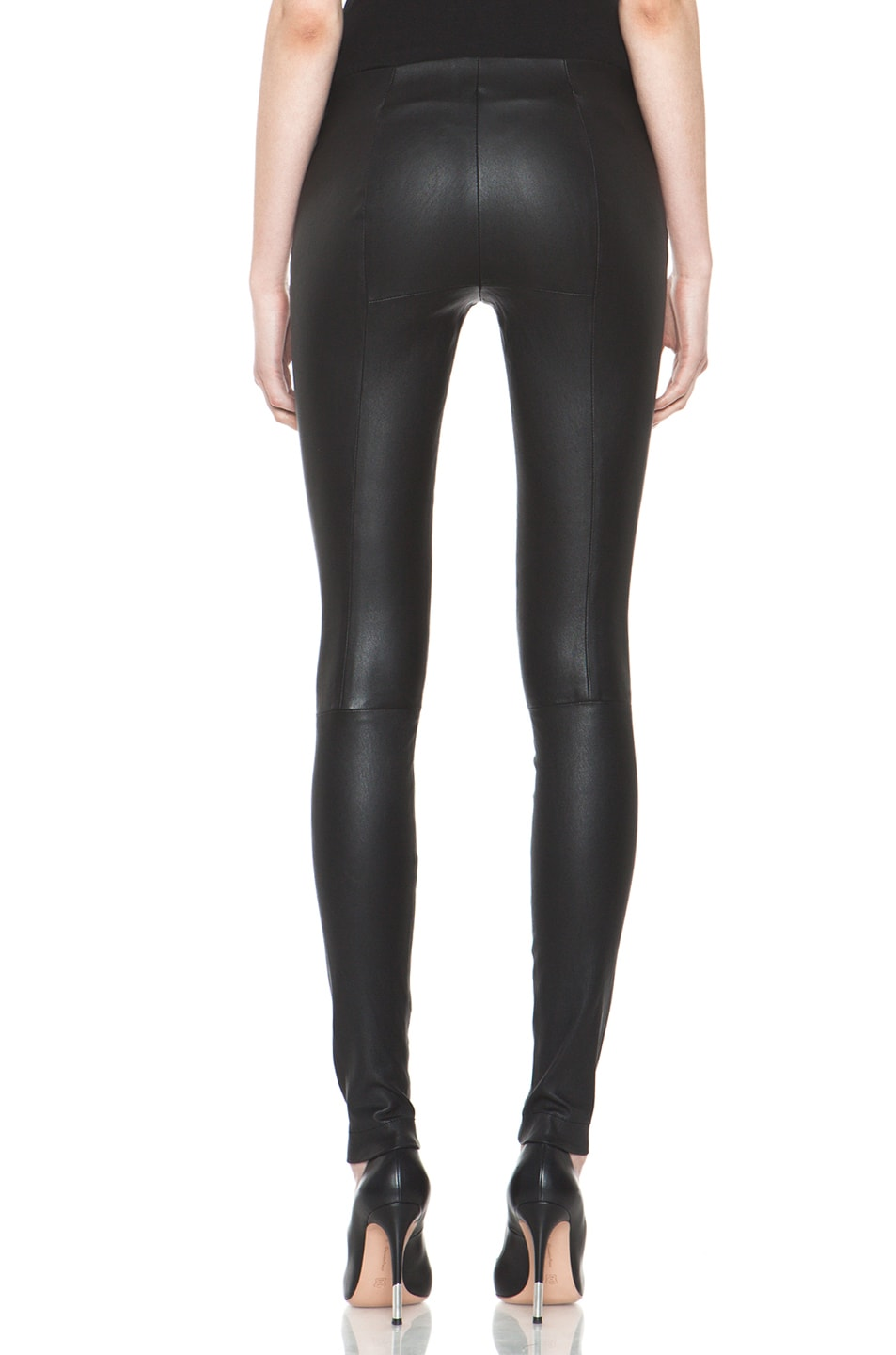 Image 4 of R13 Zip Pull On Leather Legging in Black