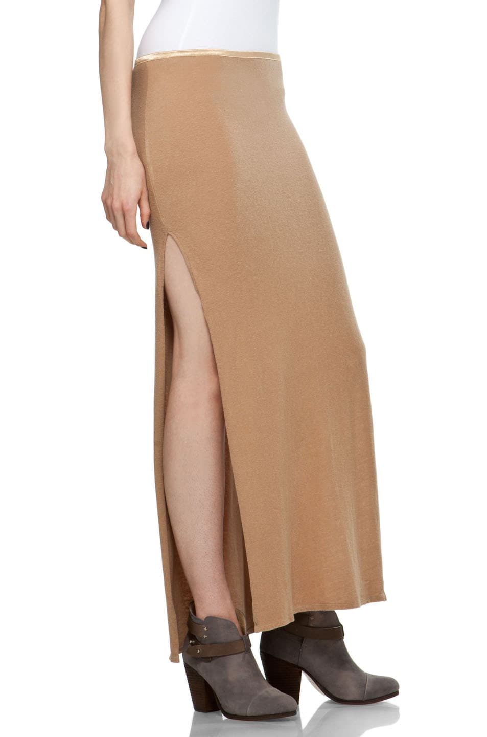 Image 3 of R13 Slit Skirt in Khaki