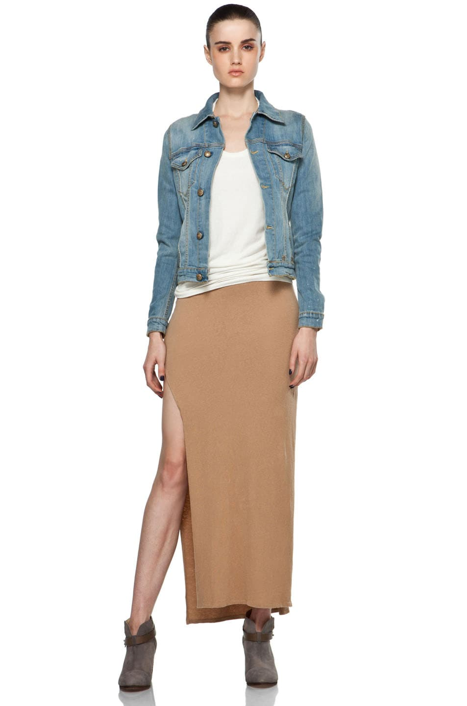 Image 5 of R13 Slit Skirt in Khaki