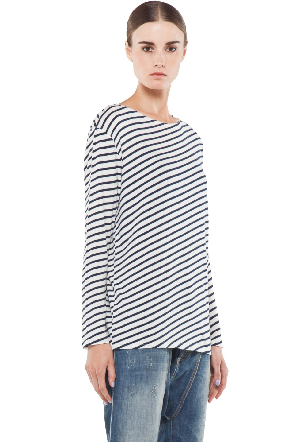Image 3 of R13 Striped Long Sleeve Tee in Navy