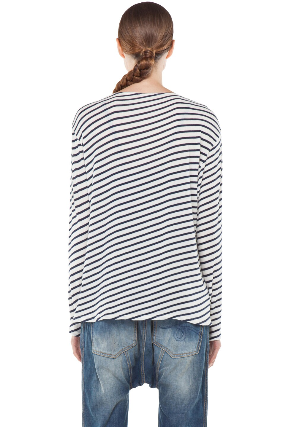 Image 4 of R13 Striped Long Sleeve Tee in Navy