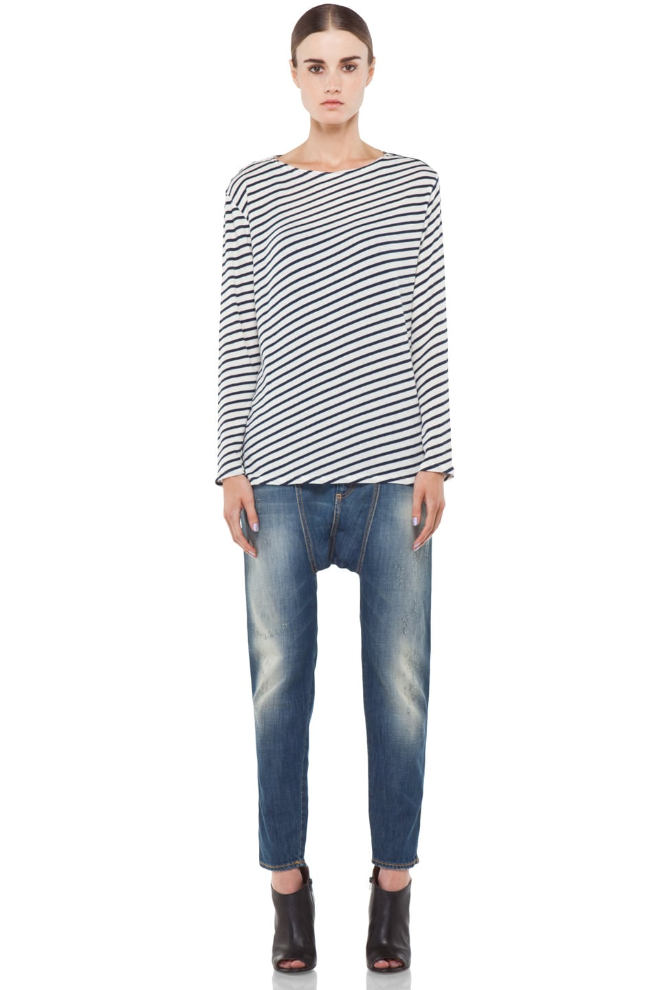 Image 5 of R13 Striped Long Sleeve Tee in Navy