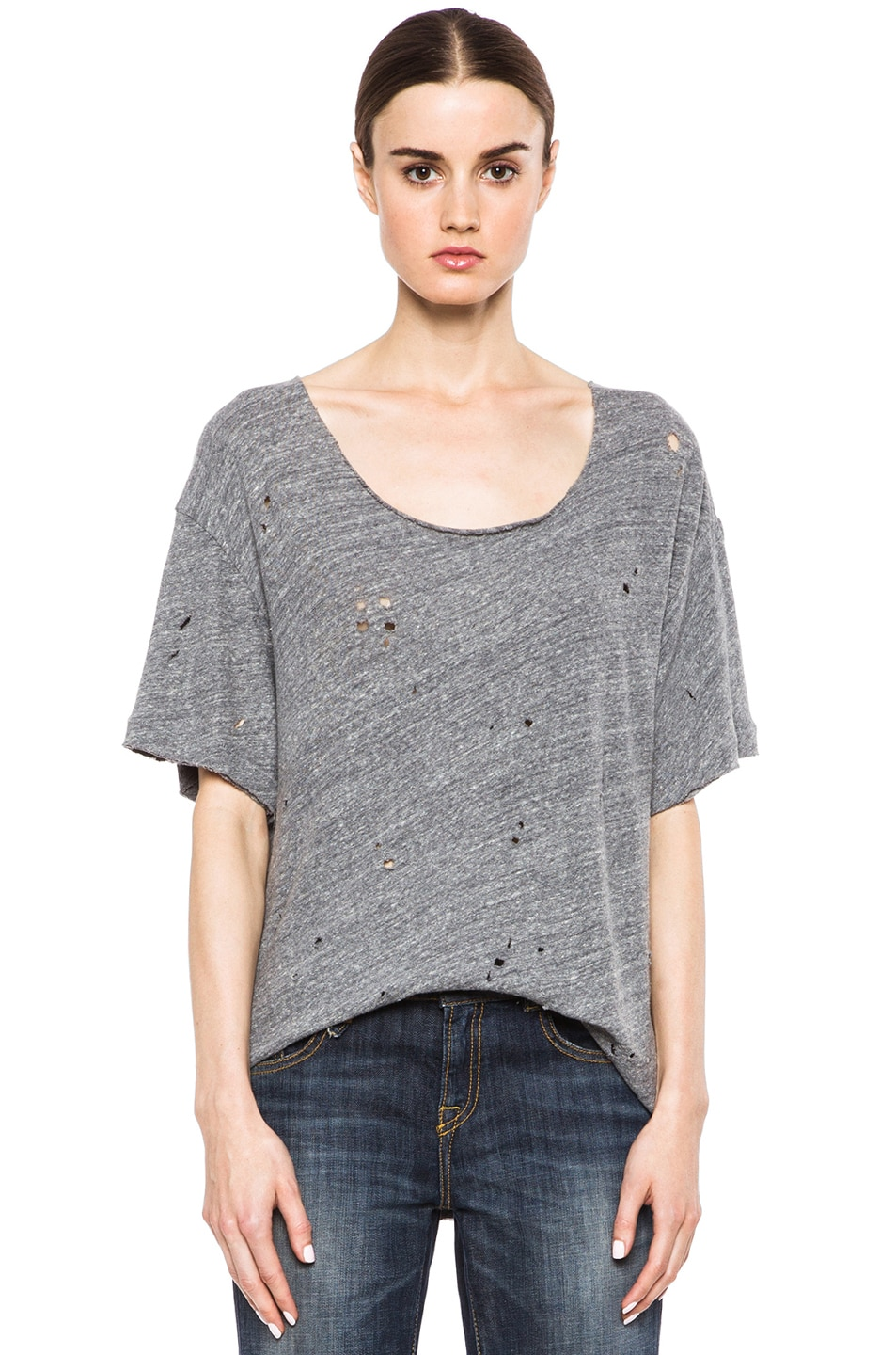Image 1 of R13 Rosie Destroyed Cotton Tee in Heather Grey