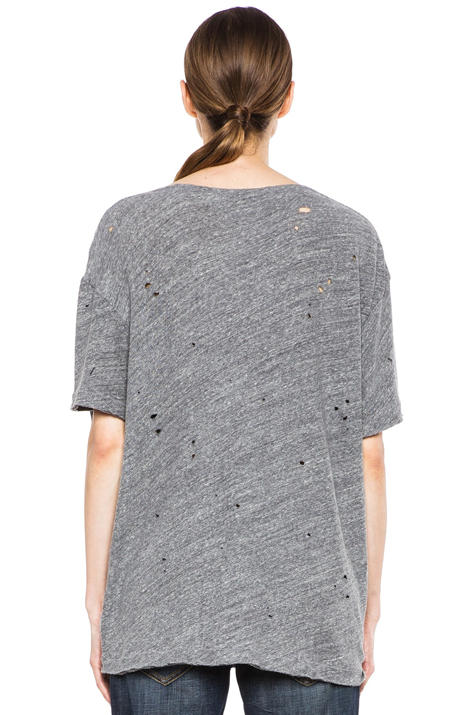 Image 4 of R13 Rosie Destroyed Cotton Tee in Heather Grey