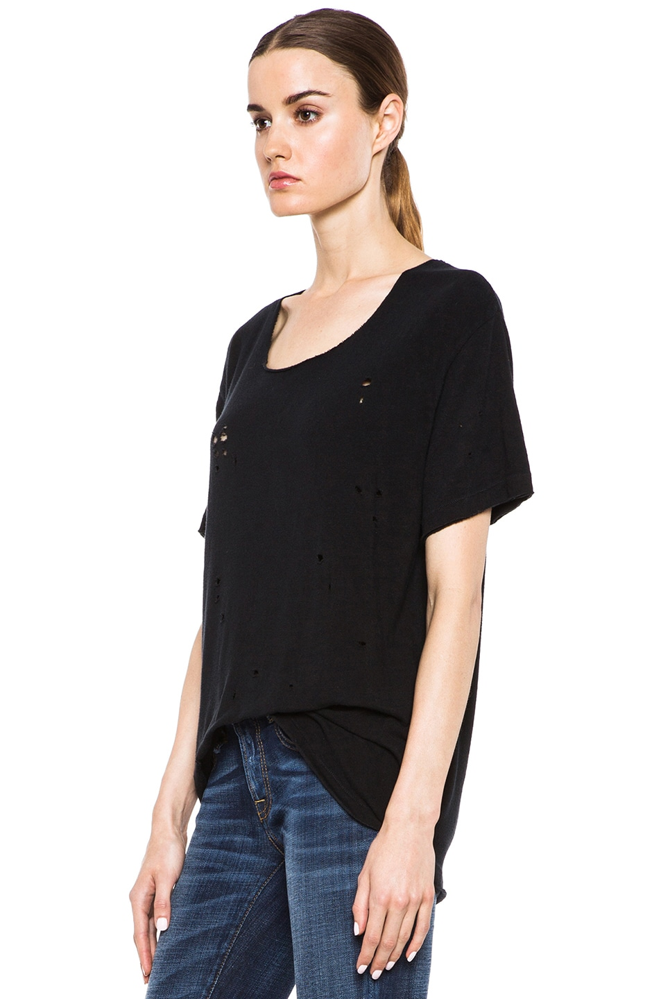 Image 2 of R13 Rosie Destroyed Cotton Tee in Black