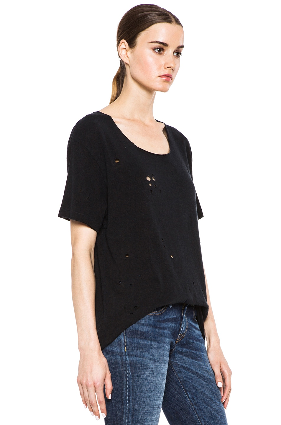 Image 3 of R13 Rosie Destroyed Cotton Tee in Black
