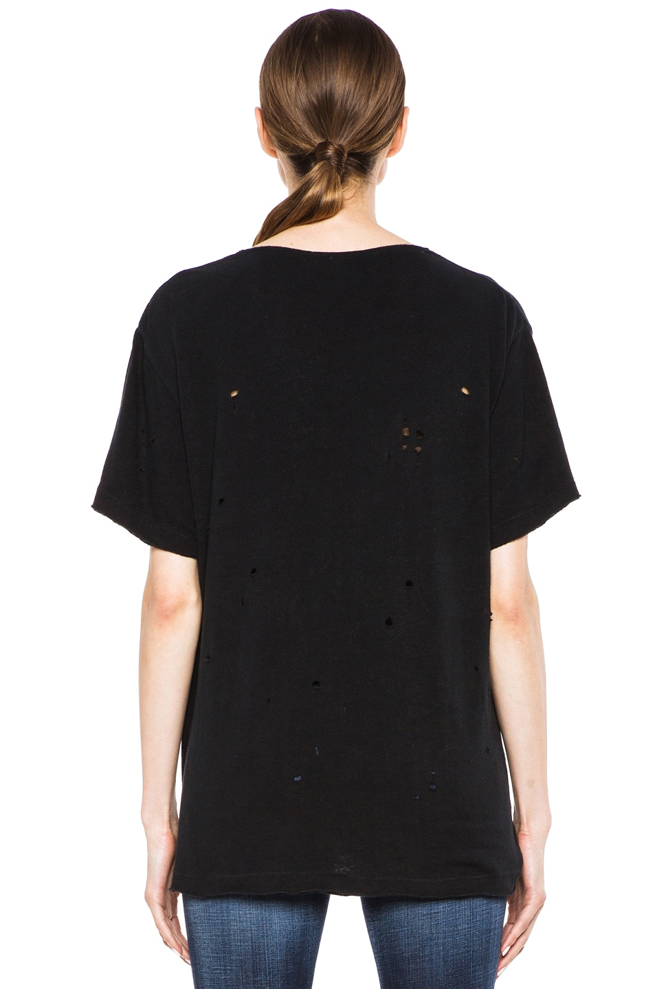 Image 4 of R13 Rosie Destroyed Cotton Tee in Black