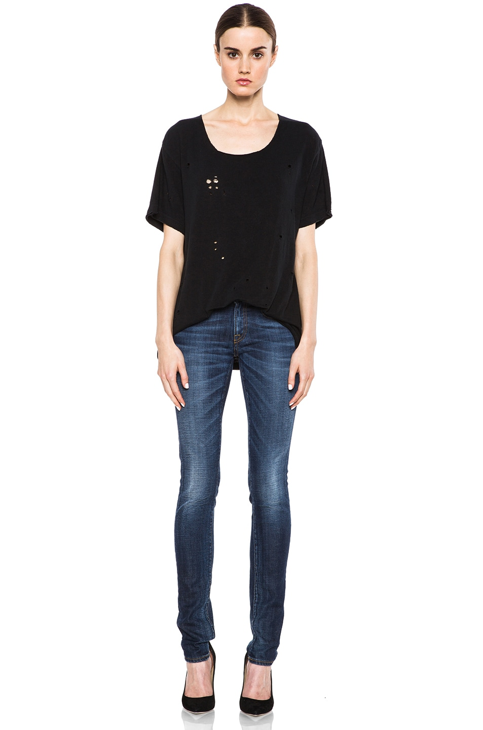 Image 5 of R13 Rosie Destroyed Cotton Tee in Black
