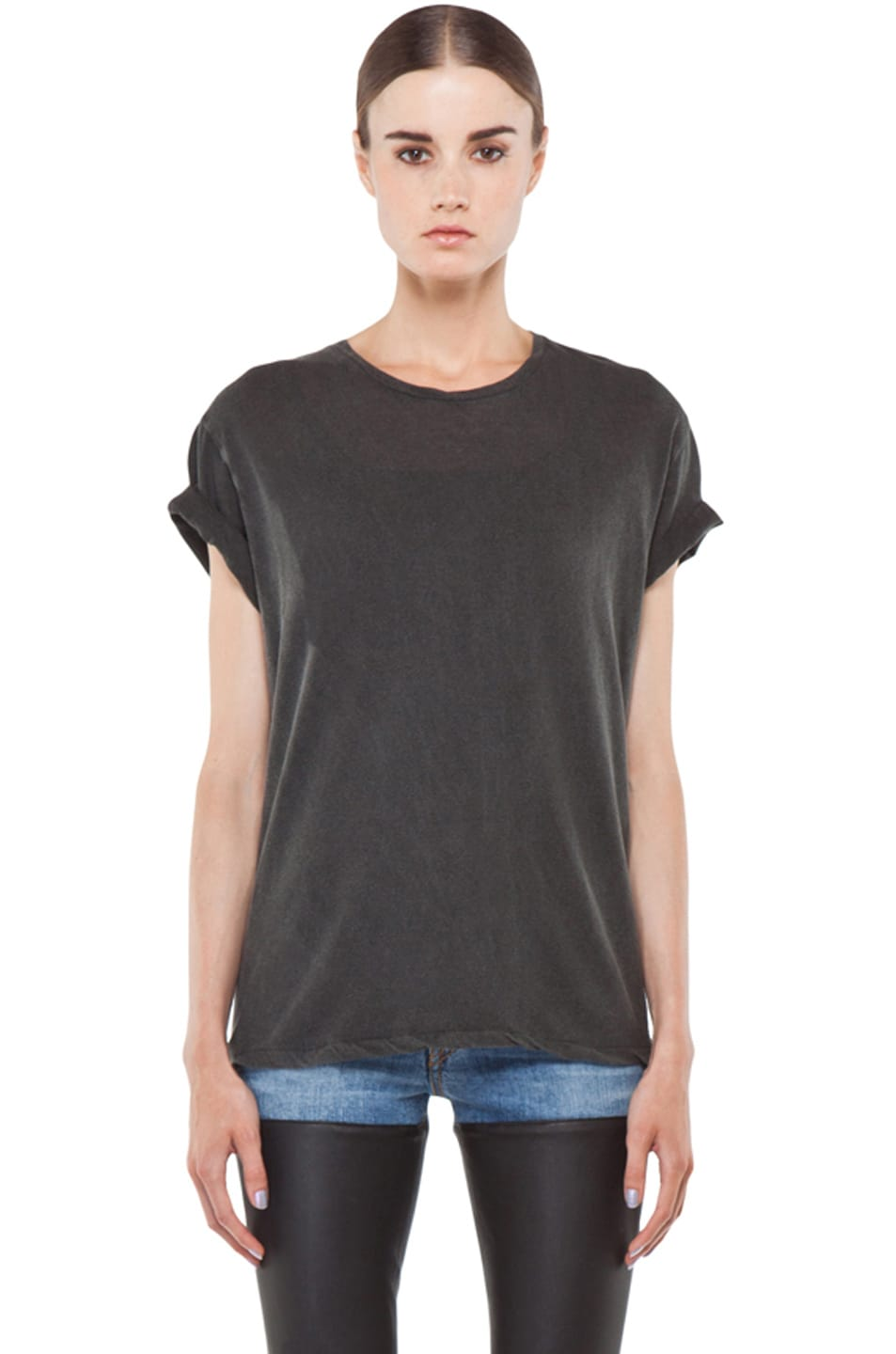 Image 1 of R13 Boy Tee in Wash Black