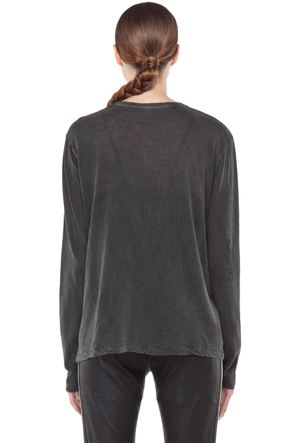 Image 4 of R13 Long Sleeve Boy Tee in Washed Black