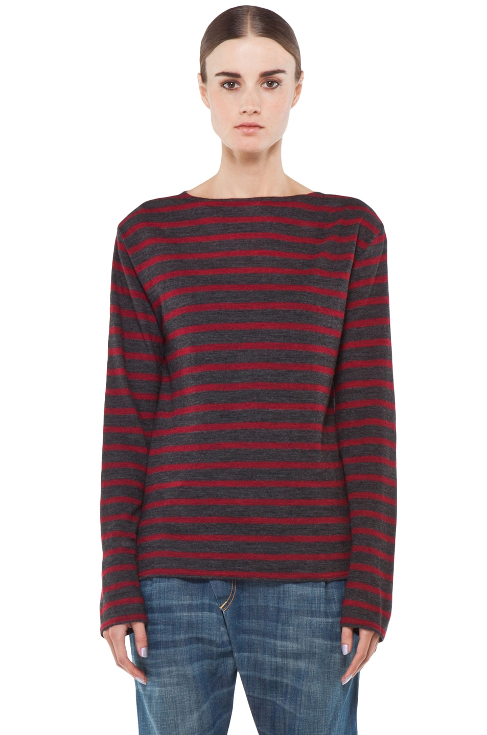 Image 1 of R13 Striped Long Sleeve Boat Neck Tee in Red