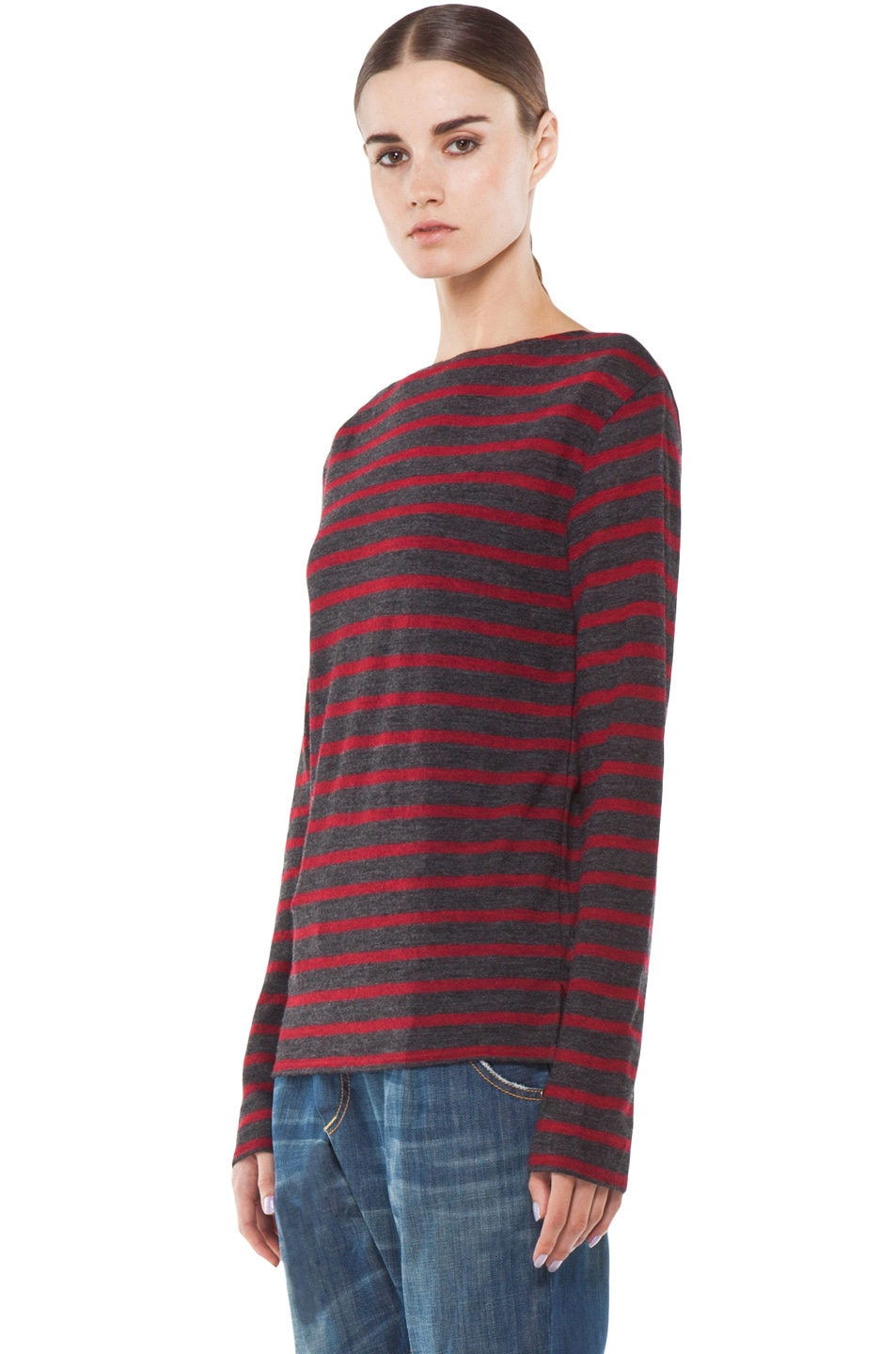 Image 2 of R13 Striped Long Sleeve Boat Neck Tee in Red