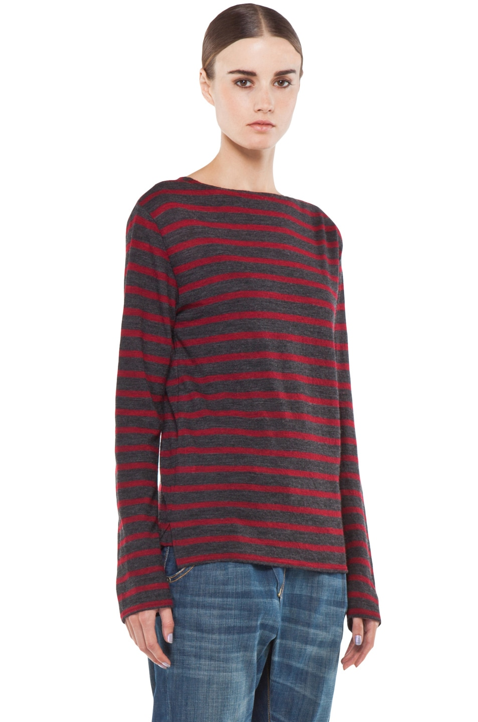 Image 3 of R13 Striped Long Sleeve Boat Neck Tee in Red