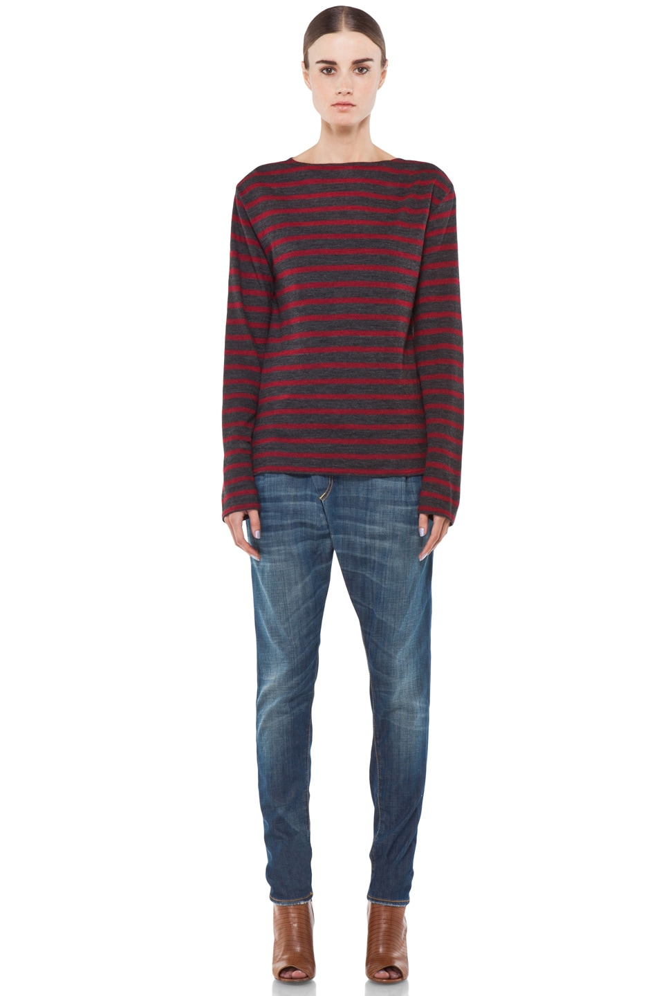Image 5 of R13 Striped Long Sleeve Boat Neck Tee in Red