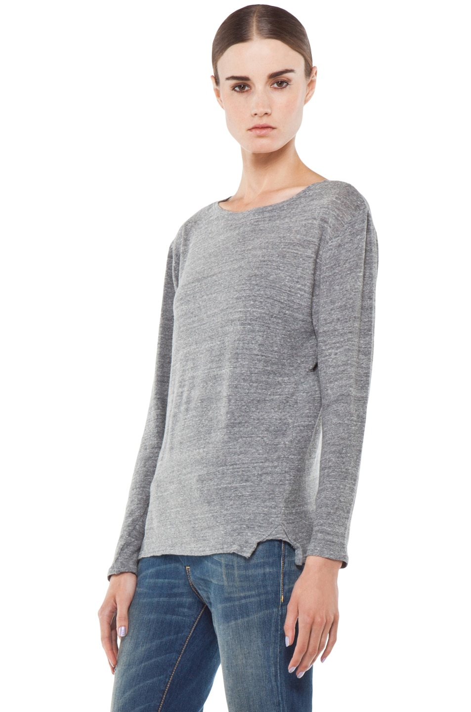 Image 2 of R13 Long Sleeve Boat Neck Tee in Light Heather Grey