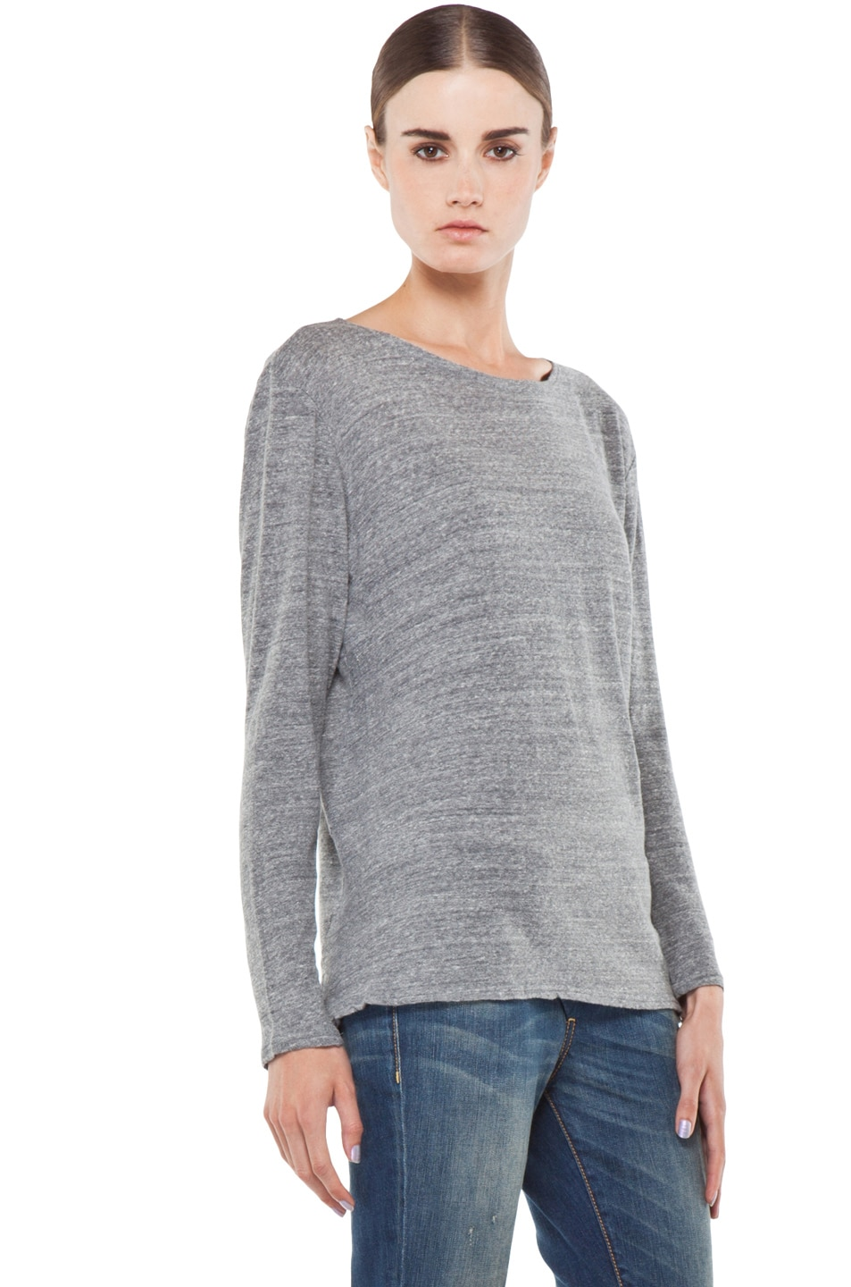 Image 3 of R13 Long Sleeve Boat Neck Tee in Light Heather Grey