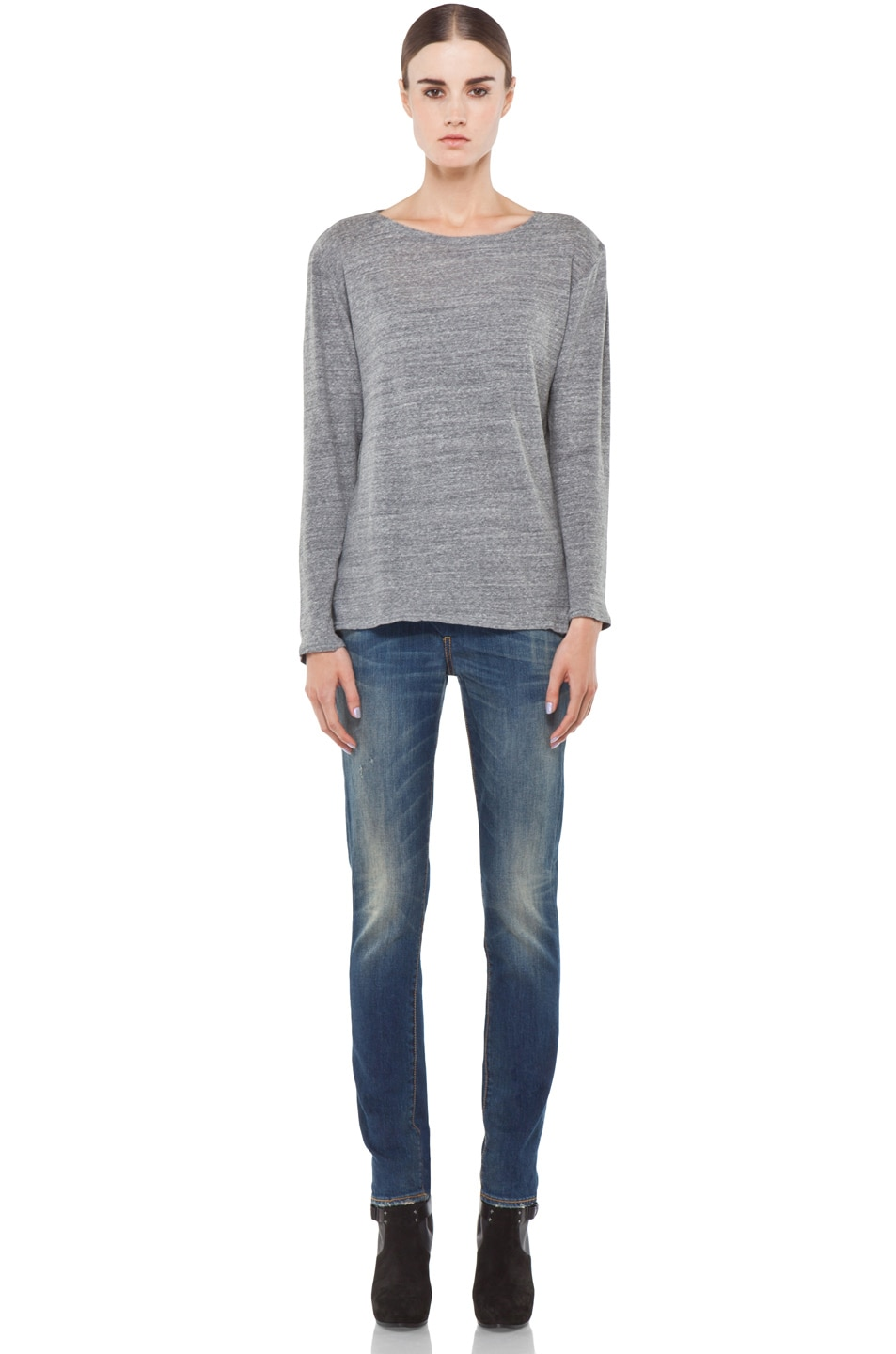 Image 5 of R13 Long Sleeve Boat Neck Tee in Light Heather Grey