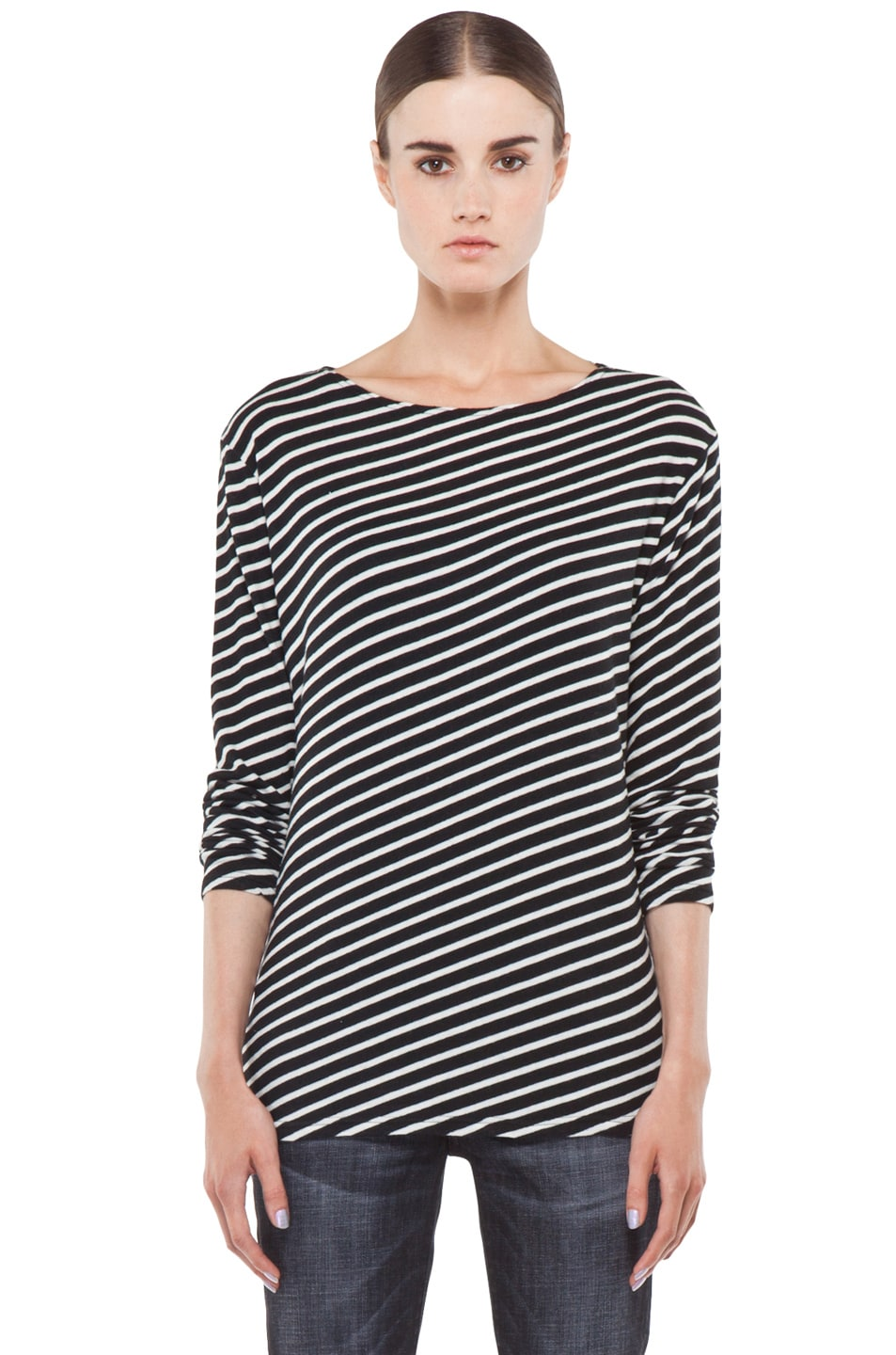 Image 1 of R13 Striped Long Sleeve Tee in White
