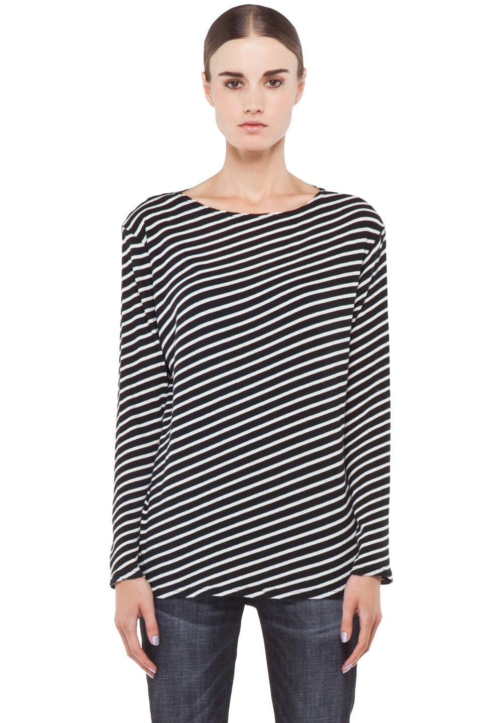 Image 2 of R13 Striped Long Sleeve Tee in White