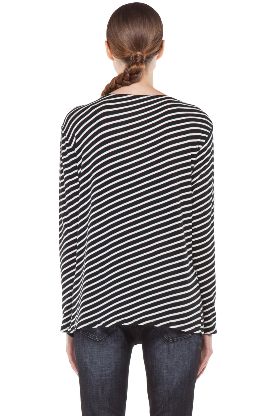 Image 5 of R13 Striped Long Sleeve Tee in White
