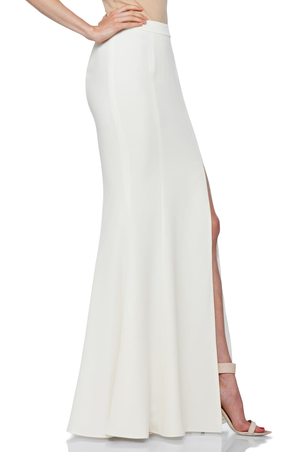 Image 3 of RACHEL ZOE Alia Flared Maxi Skirt in Snow