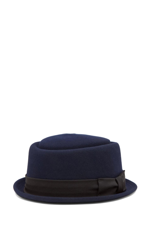 Image 1 of rag & bone Oval Pork Pie Hat in Navy