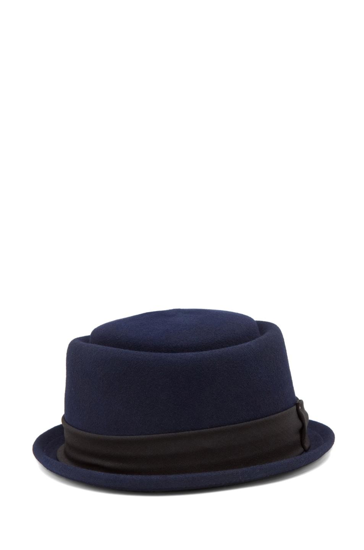 Image 2 of rag & bone Oval Pork Pie Hat in Navy