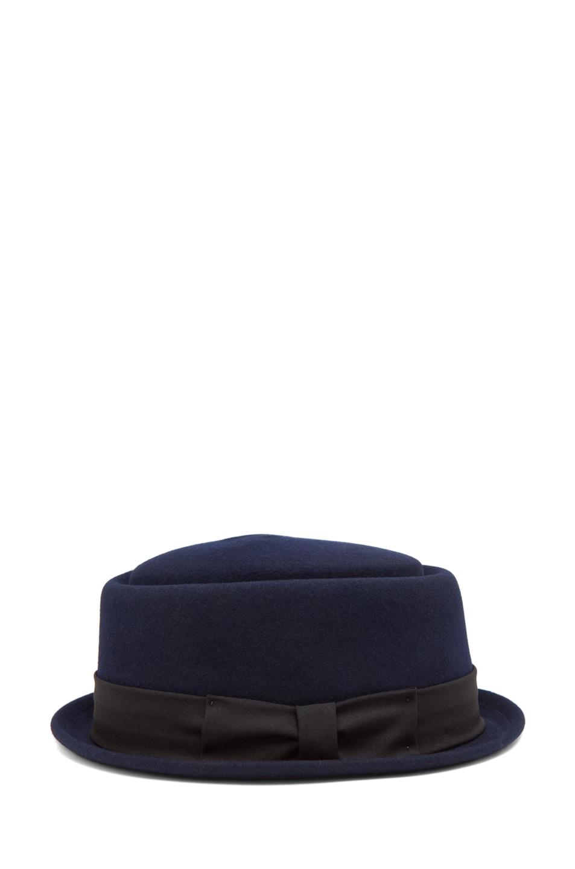 Image 3 of rag & bone Oval Pork Pie Hat in Navy