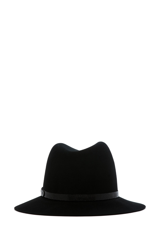 Image 4 of rag & bone Floppy Brim Fedora in Black