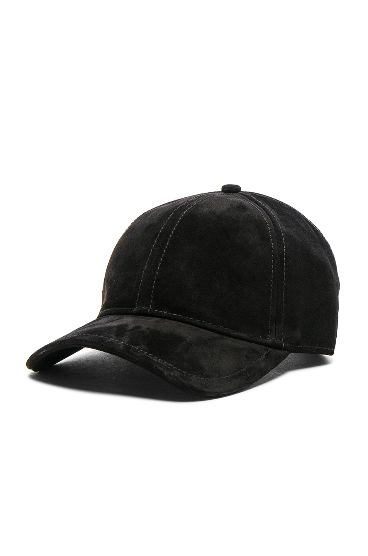 Image 2 of Rag & Bone Marilyn Baseball Cap in Black Suede
