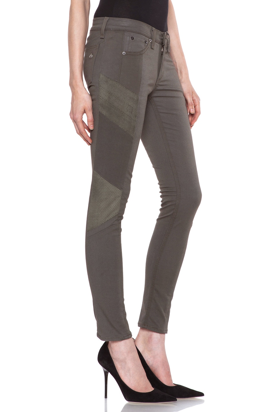 Image 3 of rag & bone/JEAN Halifax Slim-Paneled Legging with Leather in Army