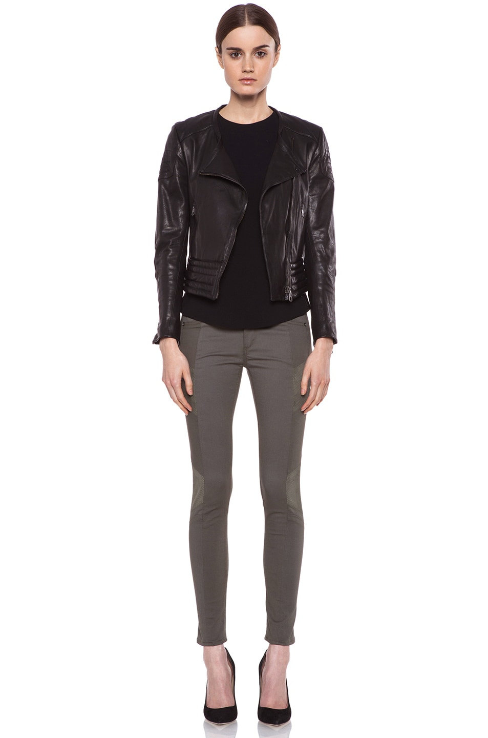 Image 5 of rag & bone/JEAN Halifax Slim-Paneled Legging with Leather in Army