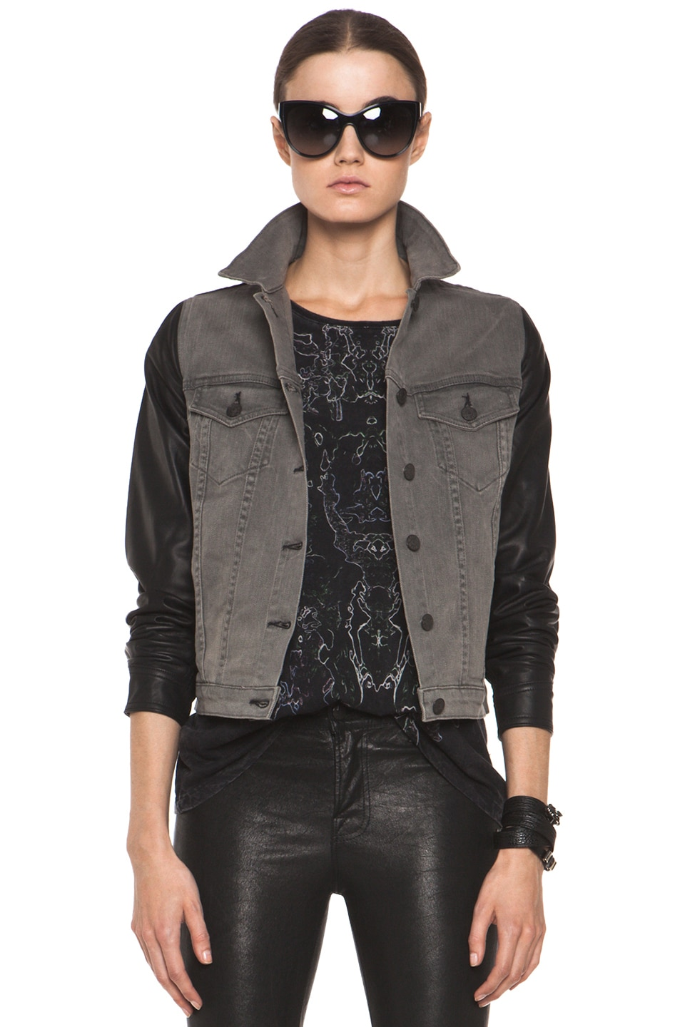 Image 1 of rag & bone JEAN Denim Jacket with Leather Sleeves in Iron