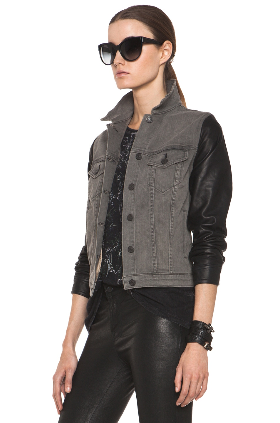 Image 2 of rag & bone JEAN Denim Jacket with Leather Sleeves in Iron
