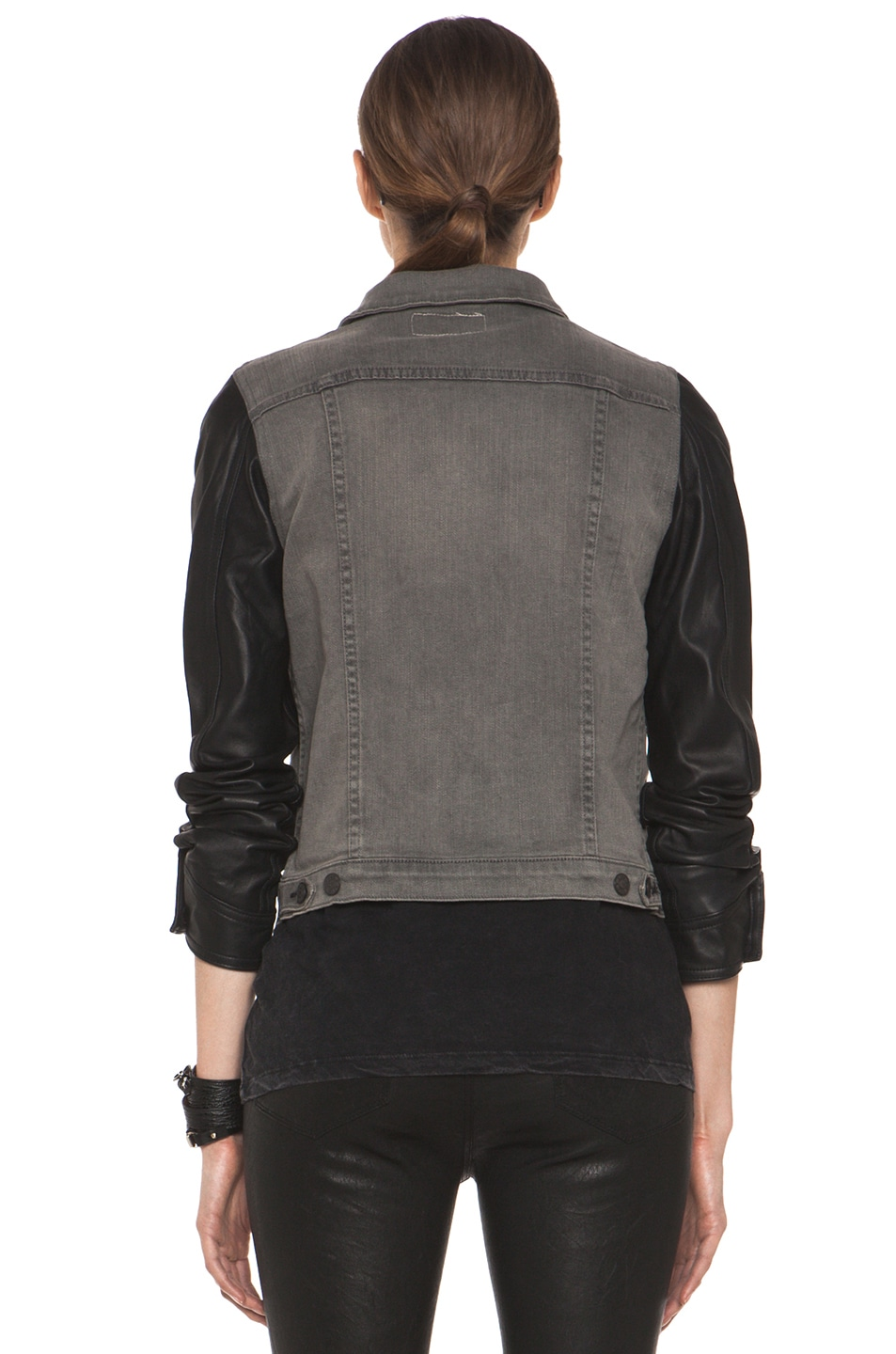 Image 4 of rag & bone JEAN Denim Jacket with Leather Sleeves in Iron