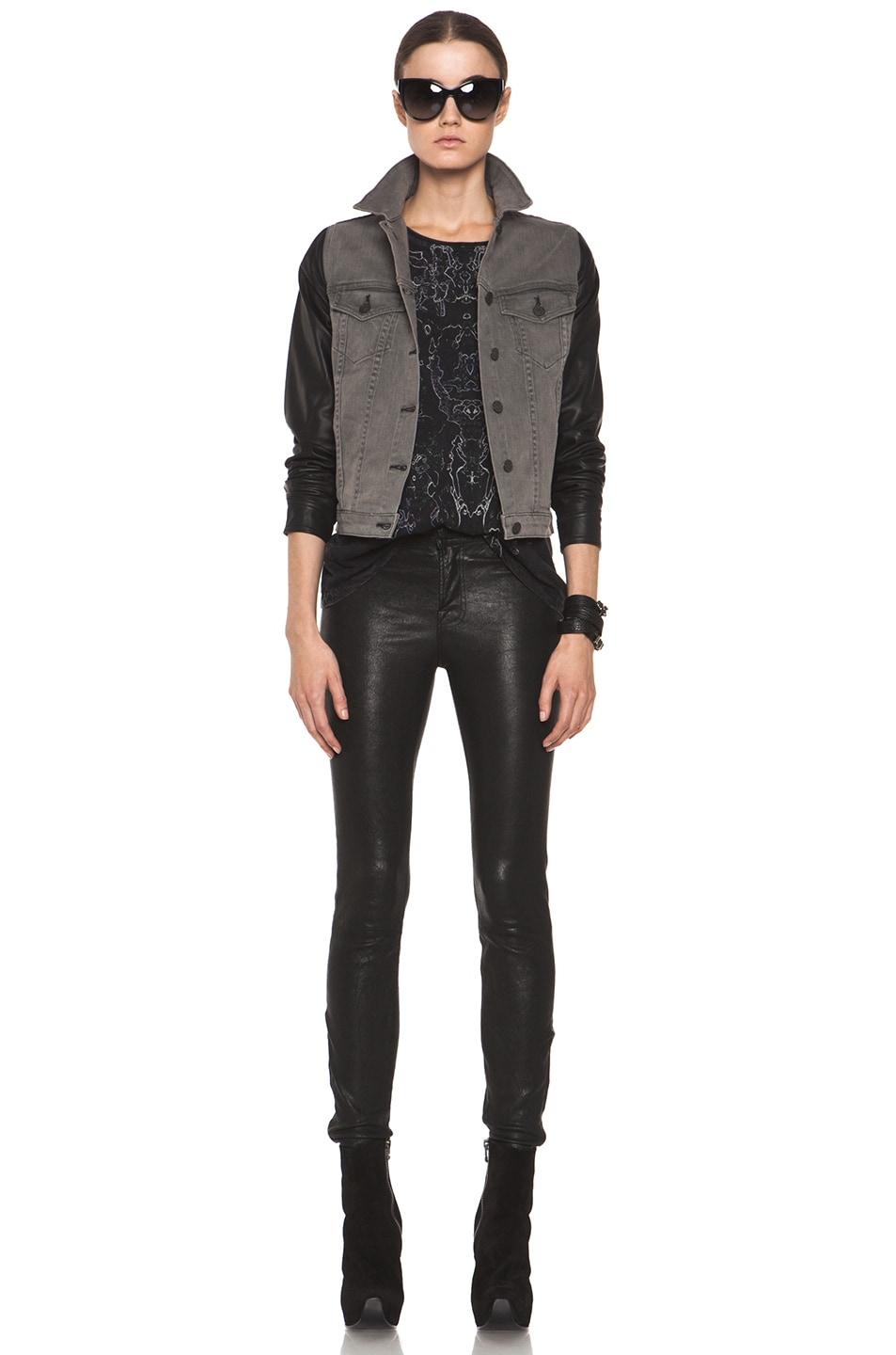 Image 5 of rag & bone JEAN Denim Jacket with Leather Sleeves in Iron