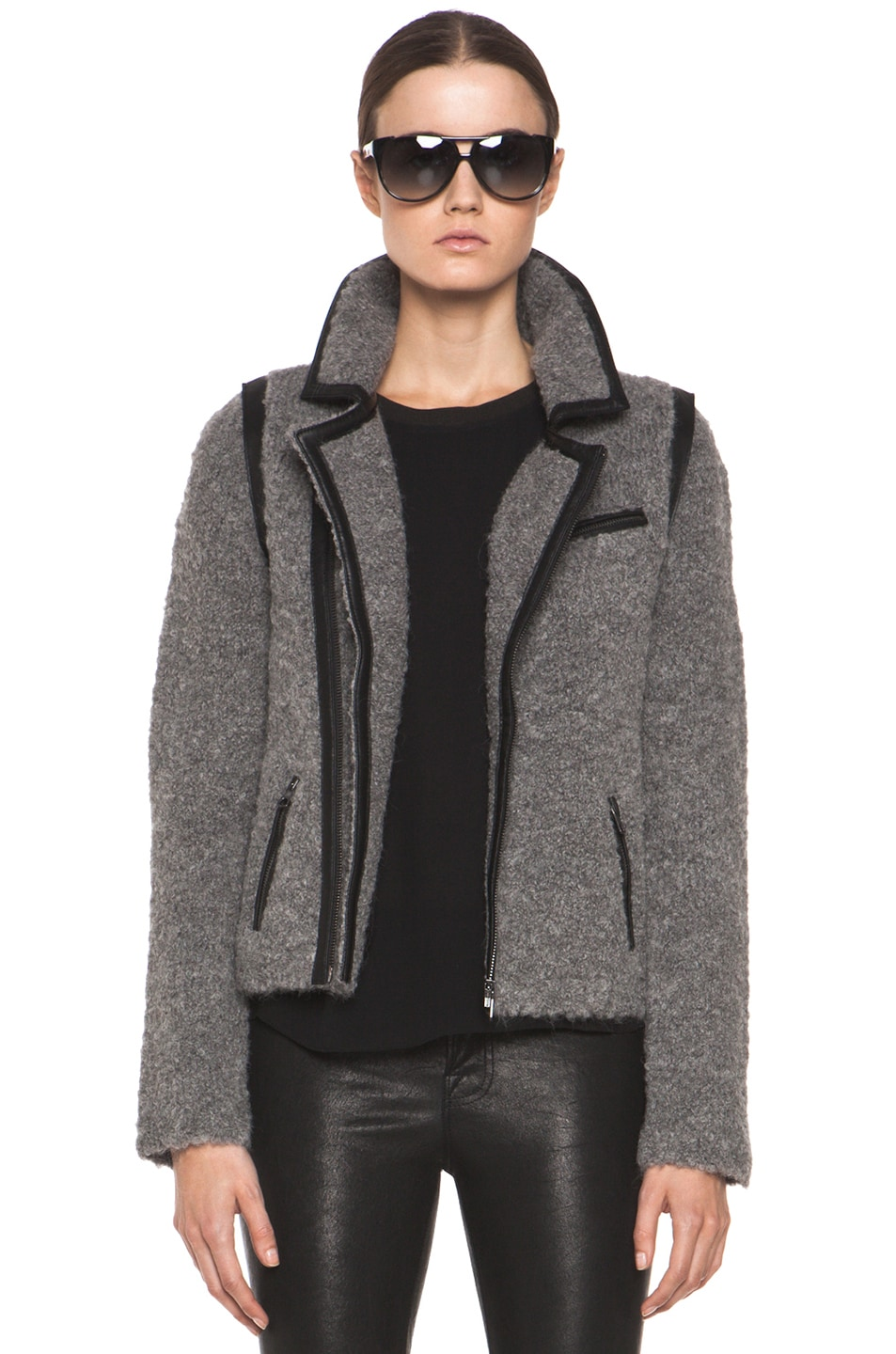 Image 1 of Rag & Bone Boucle Moto Jacket in Light Grey