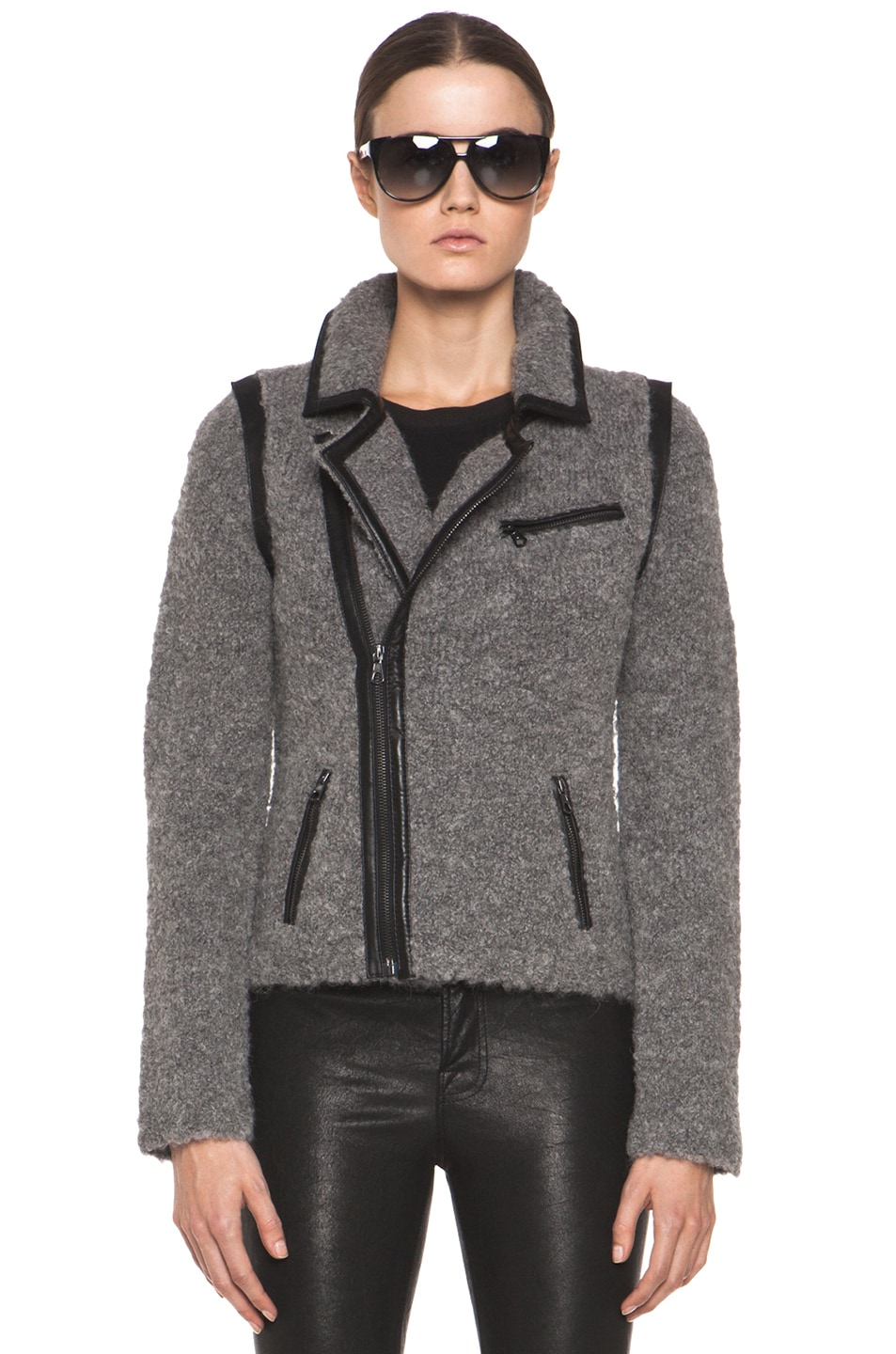 Image 2 of rag & bone Boucle Moto Jacket in Light Grey