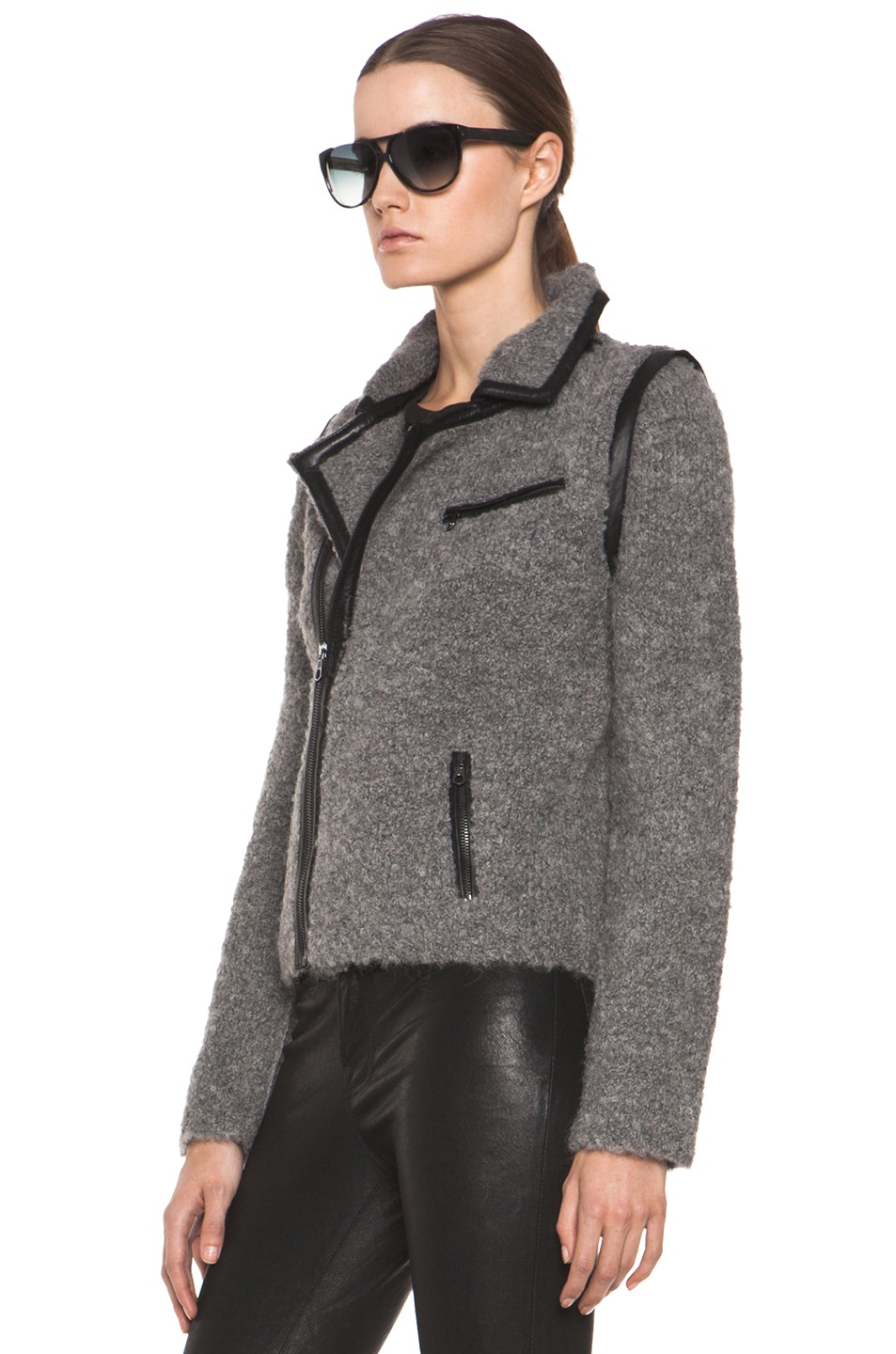 Image 3 of Rag & Bone Boucle Moto Jacket in Light Grey