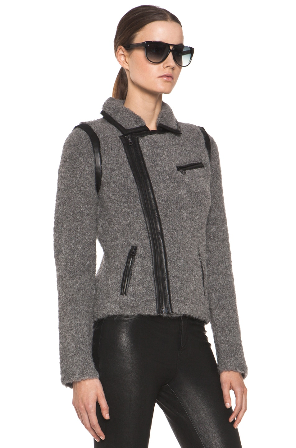Image 4 of Rag & Bone Boucle Moto Jacket in Light Grey