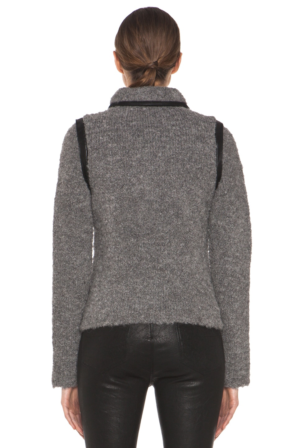 Image 5 of Rag & Bone Boucle Moto Jacket in Light Grey