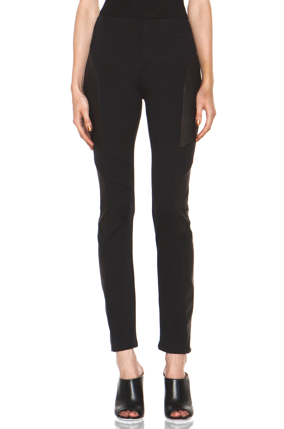 Image 1 of Rag & Bone Berline Leather Panel Legging in Black