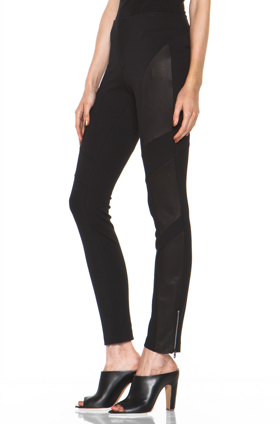 Image 2 of Rag & Bone Berline Leather Panel Legging in Black