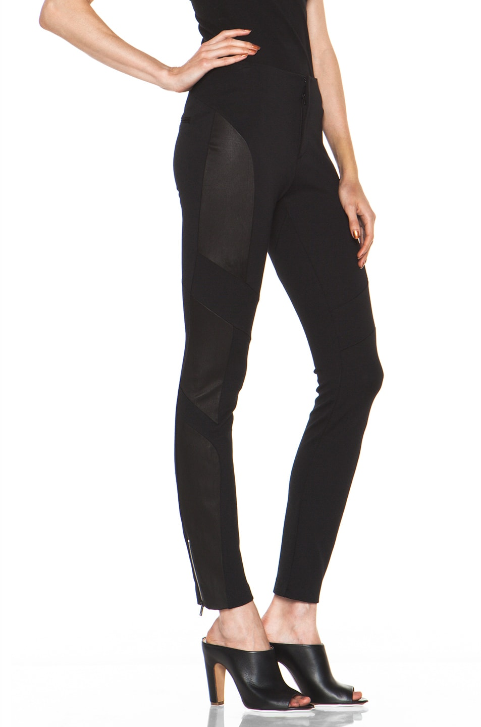 Image 3 of Rag & Bone Berline Leather Panel Legging in Black
