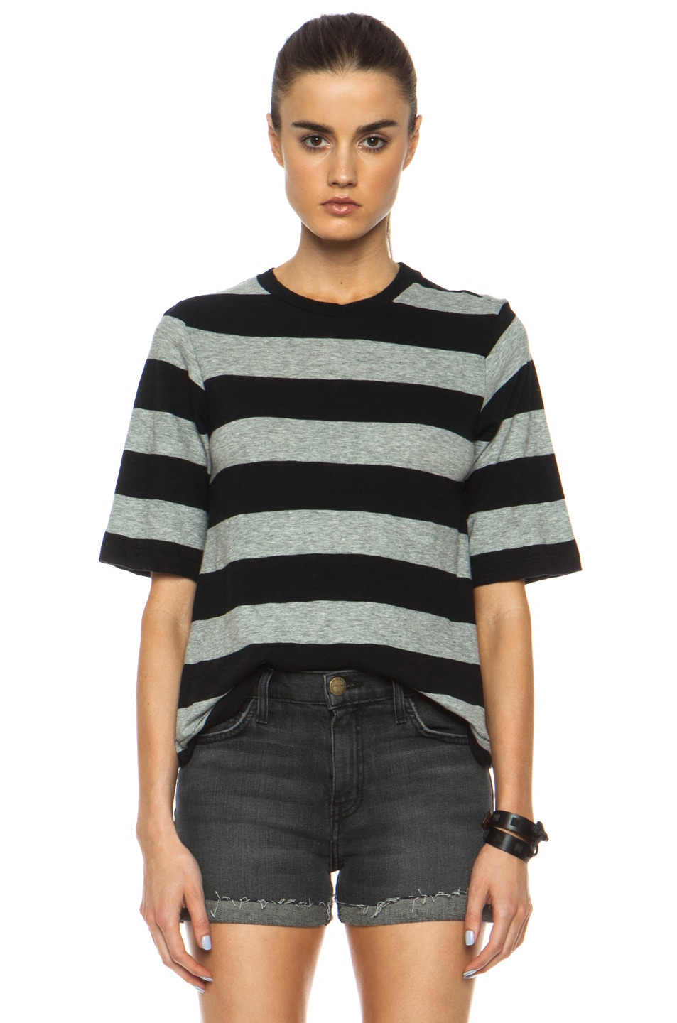 Image 1 of rag & bone/JEAN Carey Cotton Tee in Heather Grey