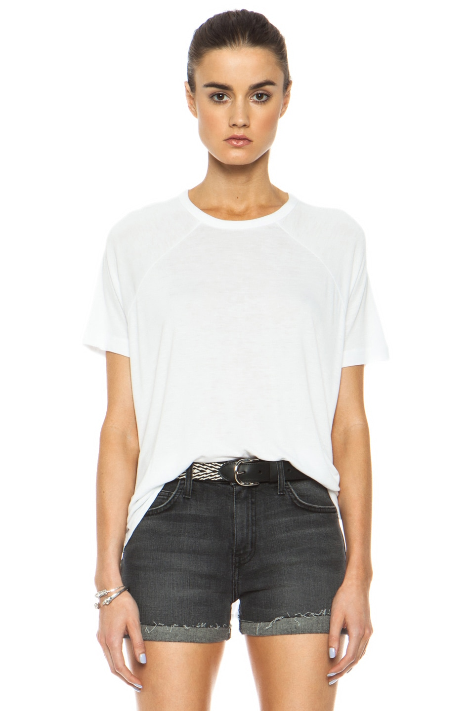Image 1 of rag & bone/JEAN Camden Raglan Viscose Tee in Bright White