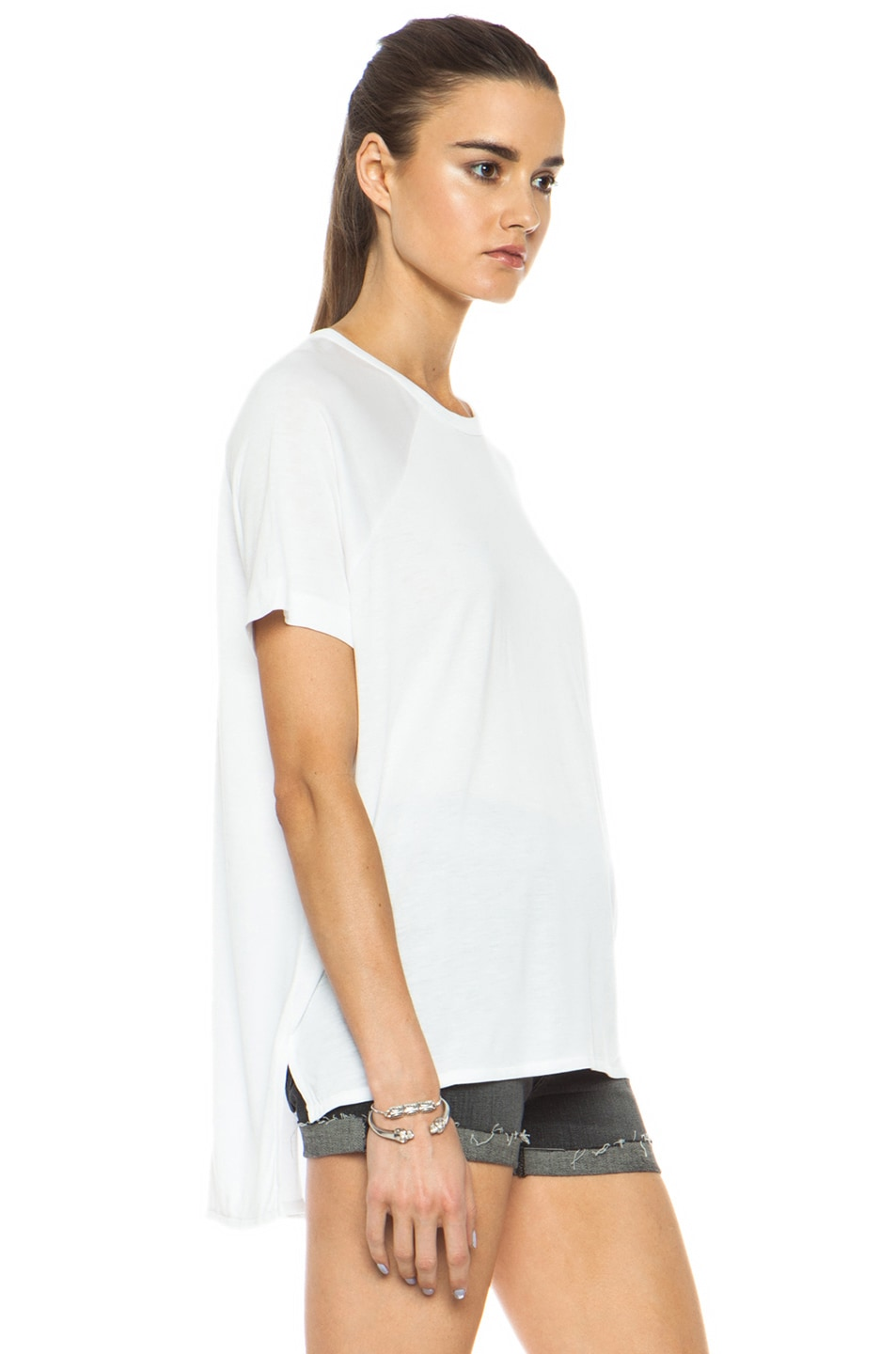 Image 3 of rag & bone/JEAN Camden Raglan Viscose Tee in Bright White
