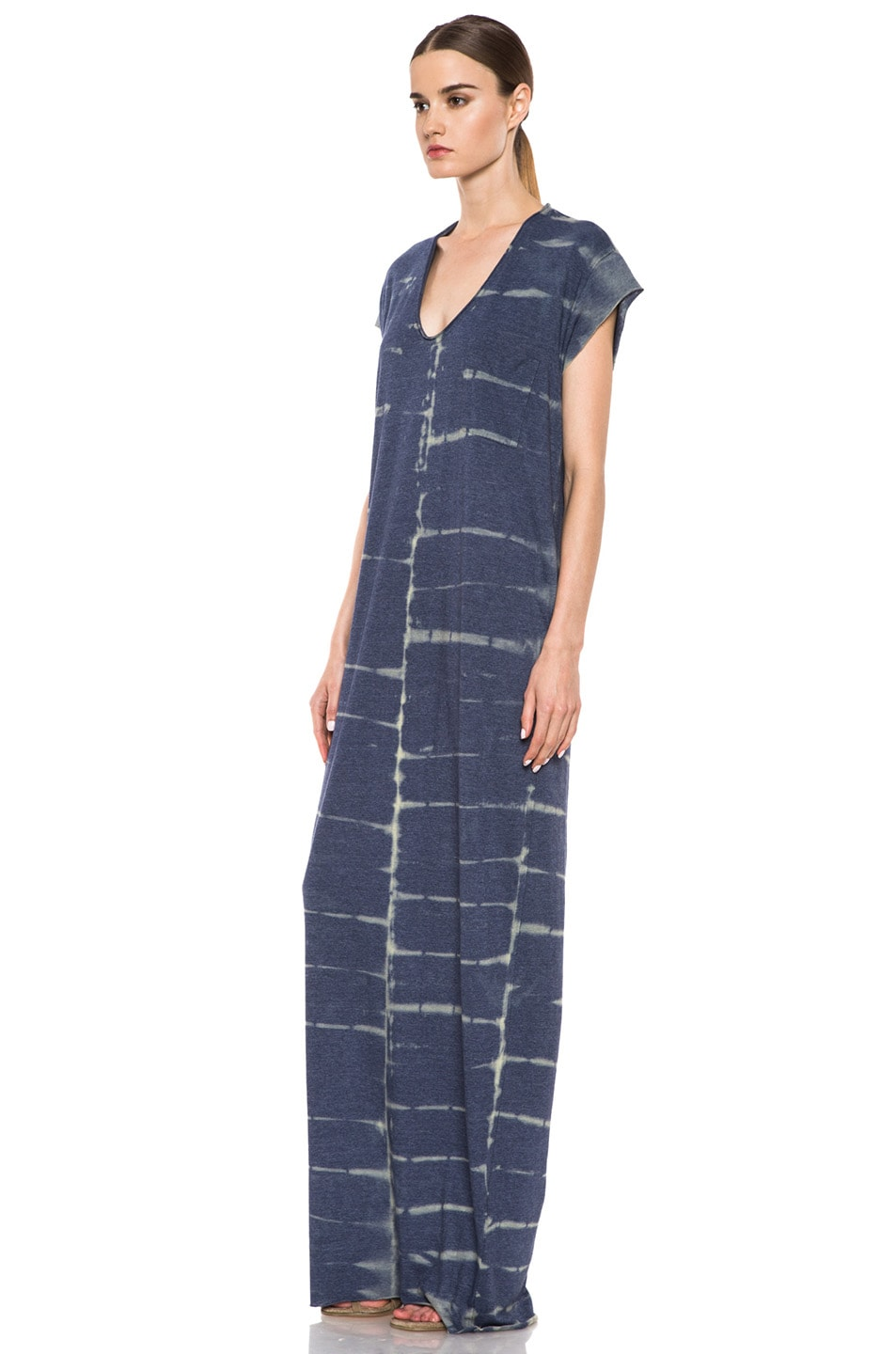 Image 2 of Raquel Allegra Deconstructed Jersey Caftan Dress in X-Ray Blue